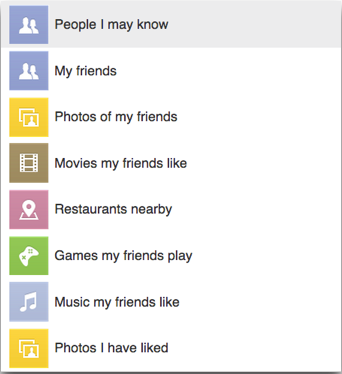 opciones de búsqueda en facebook graph search